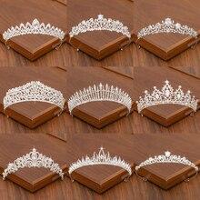 Тиара для невесты, свадебные аксессуары для волос для женщин, Серебряная корона для невесты, короны и тиара, женские аксессуары