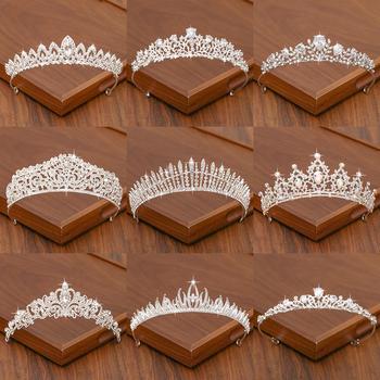 Diadem dla panny młodej korona do włosów ślubne akcesoria do włosów dla kobiet kolor srebrny korona do korony ślubne i akcesoria dla kobiet Tiara tanie i dobre opinie FORSEVEN Ze stopu cynku Moda Metal Tiary Kobiety TRENDY Hairwear HG2021 PLANT Bridal Tiara Hair Crown Crystal Rhinestone Alloy