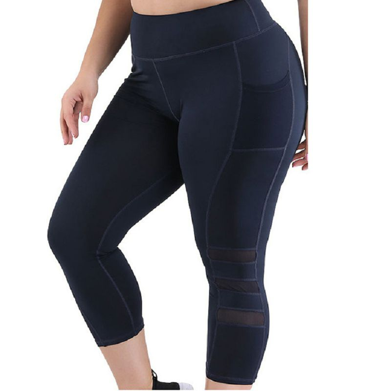 Plus Size High Waist Tummy Control Fitness Yoga Capri Gym Leggings Breathable Running Workout Sweatpants For Women Tights image