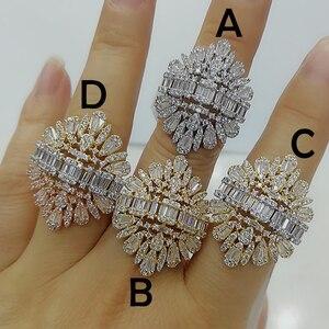 Image 2 - Godki 2020 nova moda luxo charme aaa baguette corte zircão cúbico anéis de casamento para mulheres t forma pedra festa de casamento jóias