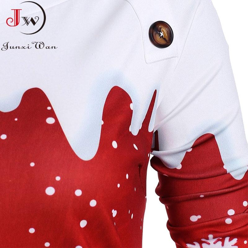 Christmas Hoodies Sweatshirts Women Autumn Winter Slash Neck Long Sleeve Snowman Print Pullovers Casual Warm Tops 3