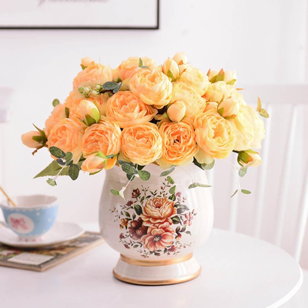 Flower Bouquet 5 Heads Artificial Rose Buds Wedding Decorative Plastic Silk Cloth Fake Flower,