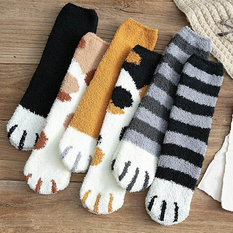 Fashion Winter Thicken Warm Women Socks Cute Cat Paw Cartoon 6 Colors Lovely Sleeping Home Floor Bedroom Socks Harajuku Kawaii