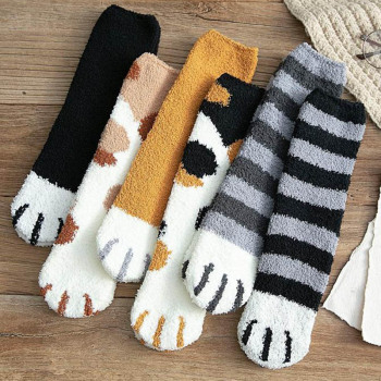 Fashion Winter Thicken Warm Women Socks Cute Cat Paw Cartoon 6 Colors Lovely Sleeping Home Floor Bedroom harajuku kawaii - discount item  30% OFF Women's Socks & Hosiery