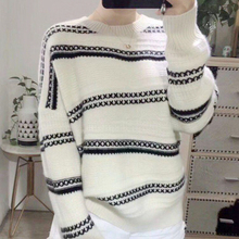 LHZSYY 2019 Autumn Winter New Women's Knit Striped Sweater Fashion Long-sleeved O Neck Large size Pullover Warm Loose Wild Shirt
