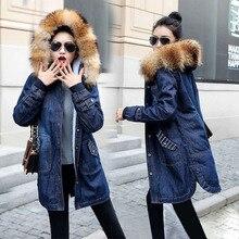 Плюс размер 5XL джинсовая куртка для женщин Новинка зима женская меховая куртка длинное джинсовое пальто с капюшоном Верхняя одежда Теплый женский джинсовый жакет