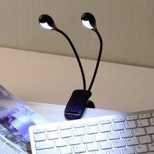 Клип-на книжный светильник s настольная лампа Настольный светильник USB 2 двойные гибкие ручки 4 светодиодный для фортепиано Музыкальная стойка Прямая поставка черный