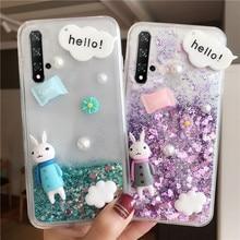 Clear Liquid Cute 3D Cartoon Pattern Glitter Quicksand Cover Case For Huawei P20 P30 Mate 10 20 Pro Lite Nova 5 5i 4 3i 3 Funda