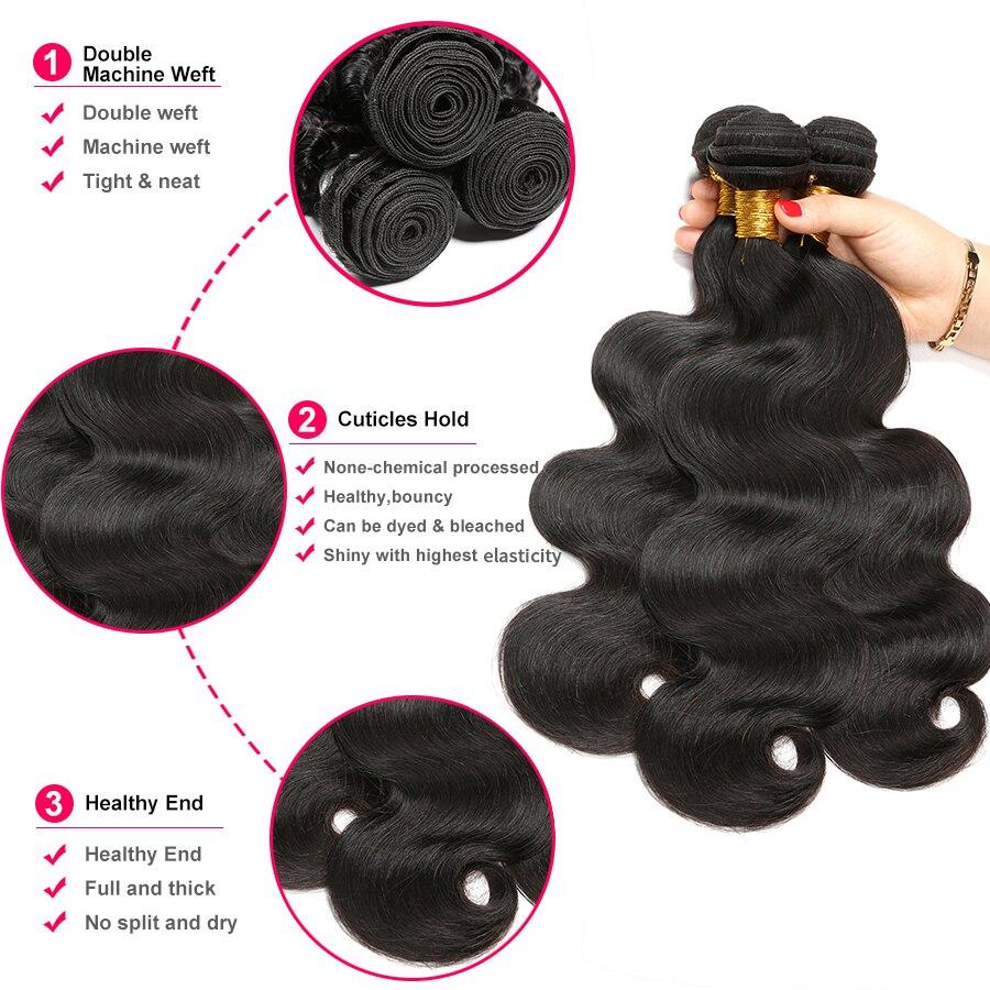 Body Wave Bundles 8- 30 Inch Bundles 100% Human Hair Extension Oxeye girl Brazilian Hair Weave Bundles Non Remy Hair 3/4 Bundles