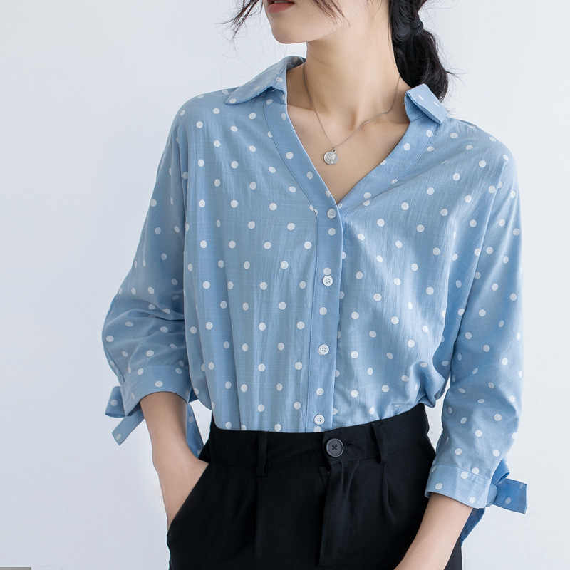 2019 Summer Loose Versatile Bow Cuff V-neck Half-sleeve Shirt Polka Dot Shirt Women's