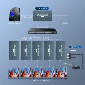 Image 3 - 2021 przedłużacz HDMI KVM przedłużacz przez IP RJ45 sieć Ethernet przedłużacz KVM USB HDMI 200M przez przedłużacz UTP/STP KVM CAT5 CAT6