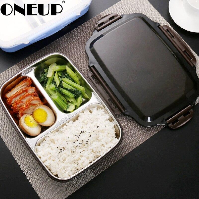 Conteneur de nourriture d'école de bureau de pique-nique portatif d'acier inoxydable de boîte à Lunch d'onills avec des compartiments
