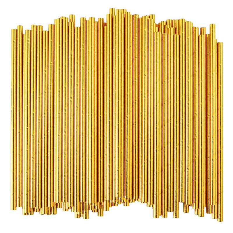 Gold Foil Paper Straws, Biodegradable Disposable Party Drinking Straws, Pack Of 100 Holiday Celebrations