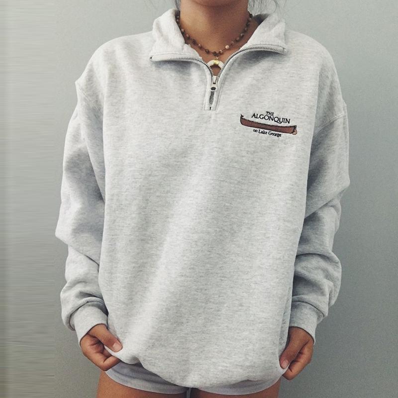 Permalink to Luxury Thick Gray Zipper Letter Print Oversized winter warm Sweatshirt Women 2020Long Sleeve Pullovers Plus Size Elegant British