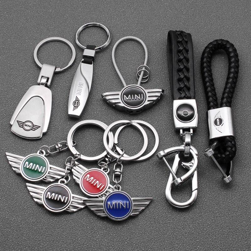 3D металлический + плетеный трос брелок для автомобильного стайлинга брелок для ключей для BMW Mini Cooper One S JCW R55 R56 R60 F55 F56 Countryman