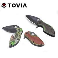 Tovia ステンレス鋼折りたたみナイフ 3D パターンポケットナイフミニポータブル折りたたみナイフキャンプサバイバルツール迷彩