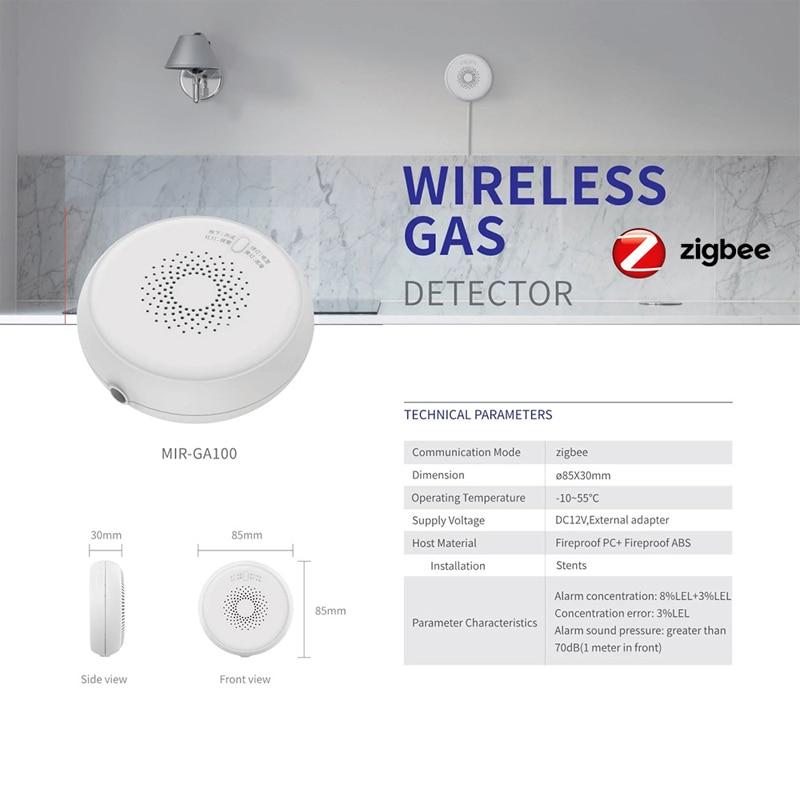ZigBee Tuya Smart Gas Detector Alarm Home Security Wireless Gas Sensor Wifi Smart Linkage For Smart Home Alarm System