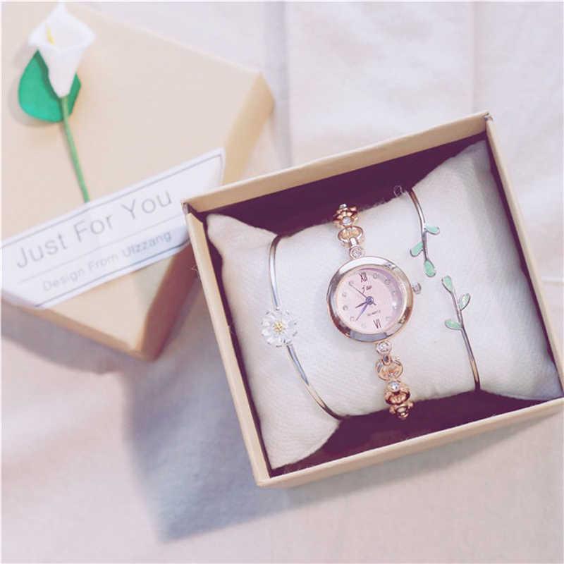 Fashion horloge vrouw gift sets kleine wijzerplaat polshorloge sieraden armband set slim band eenvoudige horloge daisy bladeren armbanden Met doos