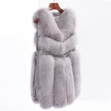 Женские длинные жилеты из лисьего меха зимние с заклепками натуральной