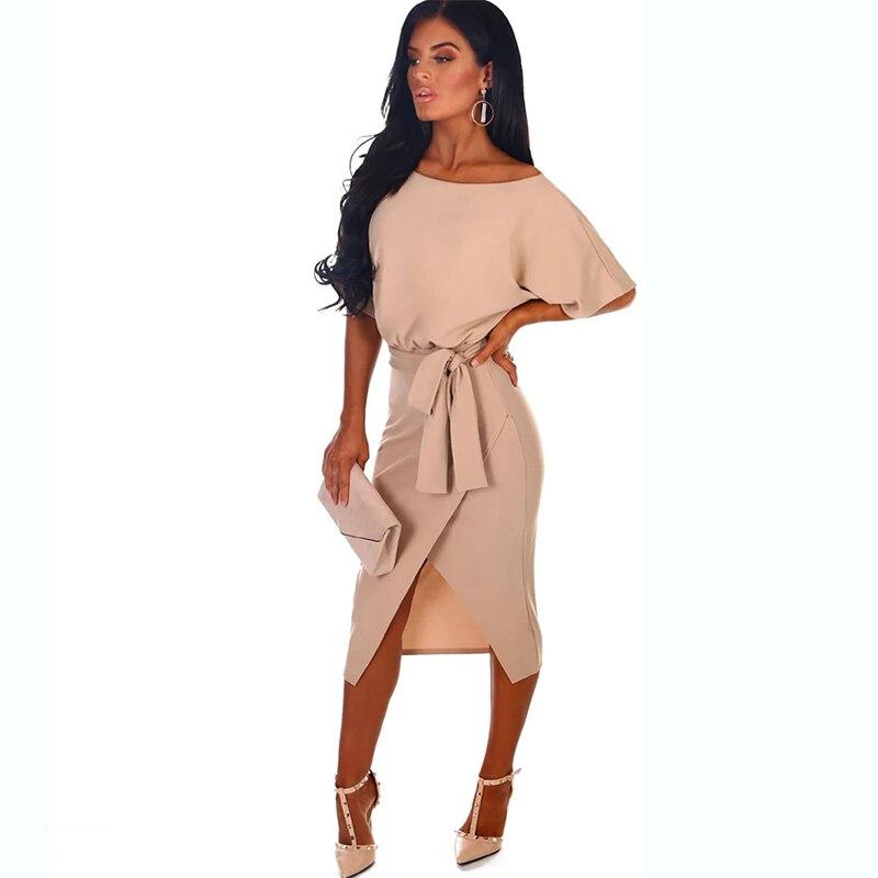 QRWR пикантная летняя одежда для женщин с разрезом по бокам, модное элегантное ТРАПЕЦИЕВИДНОЕ ПЛАТЬЕ С рукавами «летучая мышь», Дамское Платье футляр, облегающее платье миди|Платья|   | АлиЭкспресс