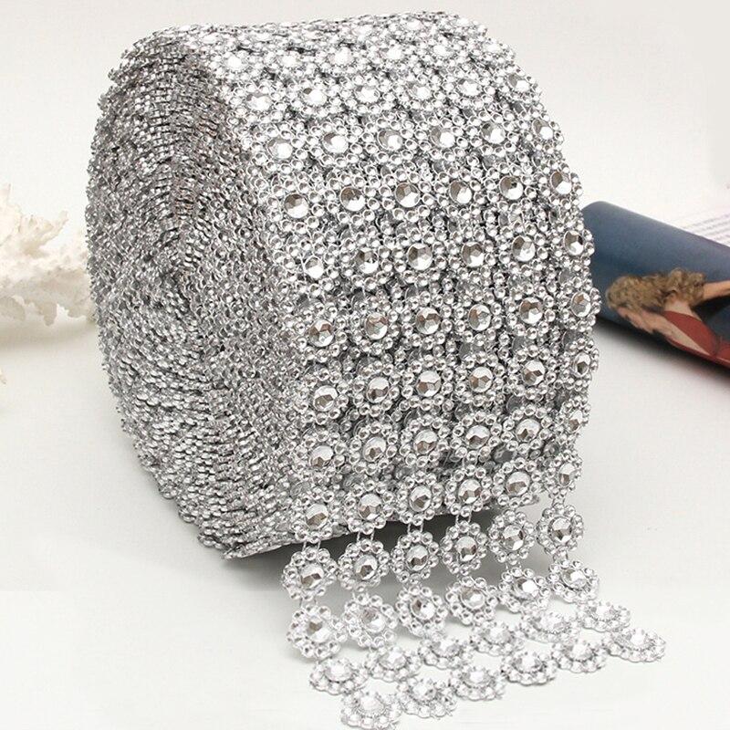 1 quintal de prata girassol strass cristal fita do falso diamante fita acrílico flor malha envoltório fita para decorações festa casamento