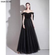 Черные вечерние платья с открытыми плечами сексуальное вечернее