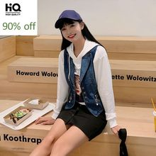 Hot Sale Korean Womens Sleeveless Denim Vests Fashion Single Breasted Zip Casual Streetwear Slim Fit Female Outwear Waistcoats(China)