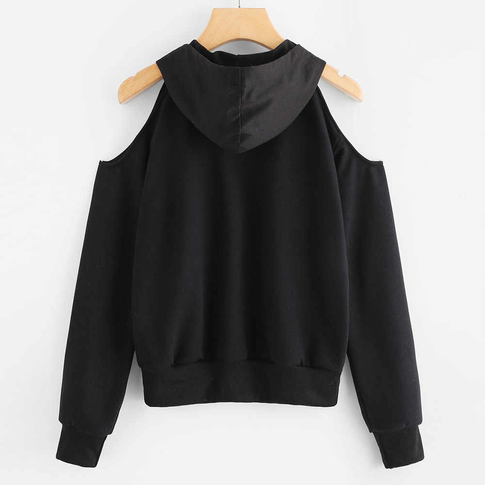 Womail Letter Printed Sweatshirt Womens Fashion Autumn and Winter Pullover Off Shoulder Hooded Sweatshirt JL29 Chaqueta de mujer
