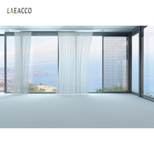 Laeacco Seaside French Window House Interior Scene Photography Backgrounds Customized  Photographic Backdrops For Photo Studio