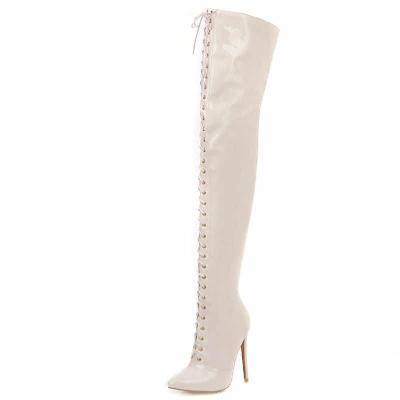 FEDONAS moda Pu deri kadın diz üzerinde çizmeler sonbahar kış sıcak fermuar uzun çizmeler gece kulübü ayakkabı kadın binici çizmeleri