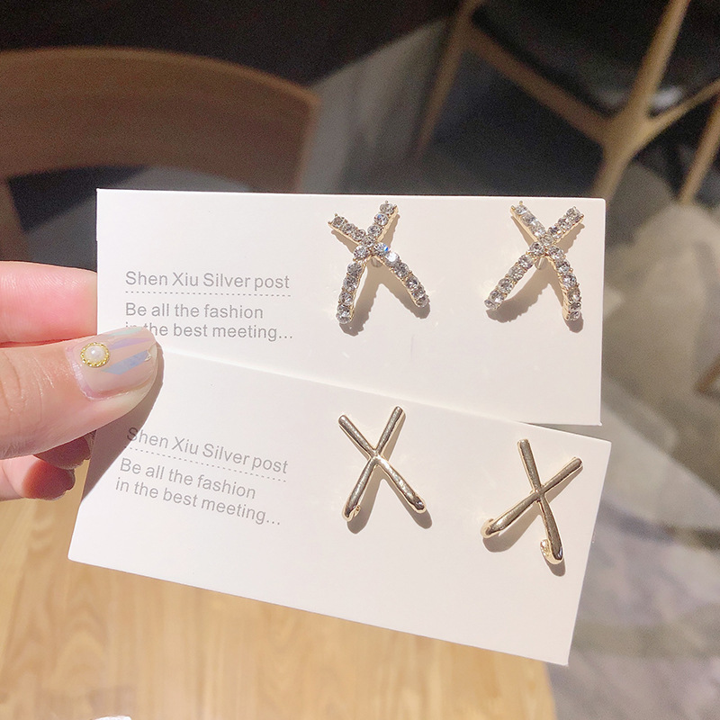New Korean Fashion S925 Rhinestone Flash Stud Earrings Exquisite Zircon Letter Cross X Earring For Women Jewelry Accessorie Gift