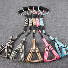 5 Colors Nylon cotton Dog Harness Leash Lead Set For Dogs S M L XL Dog tow rope and vest harness set