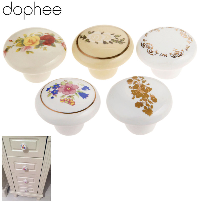 dophee Furniture Knobs Ceramic Knob Cupboard Drawer Cabinet Knobs and Handles Door Kitchen Pull Handles Furniture Fittings