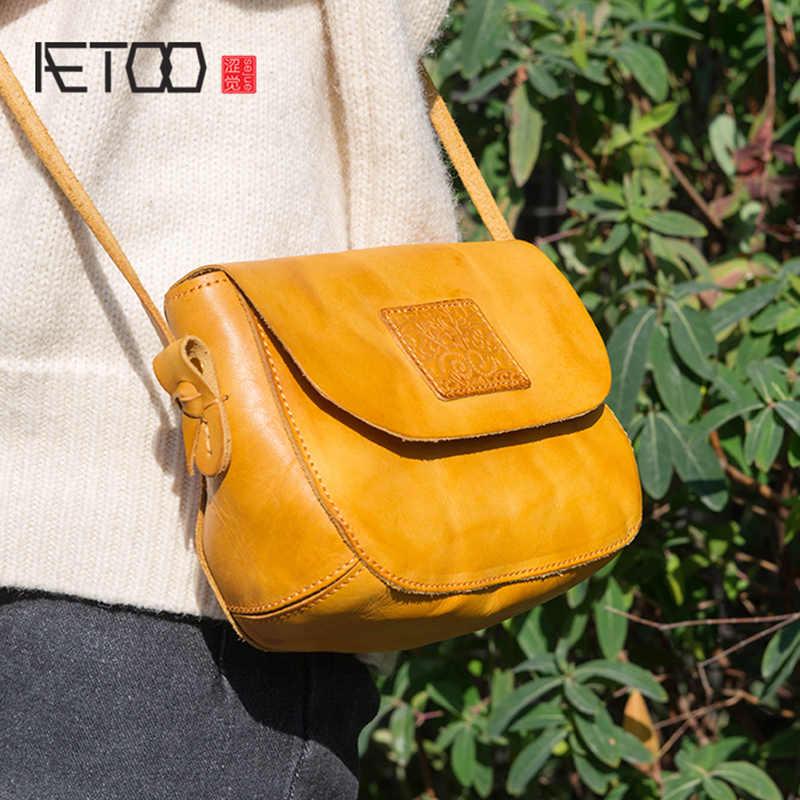AETOO ハンドメイド牛革ハンドバッグ、全体肩傾斜ハンドバッグ、カジュアルレザーバッグ