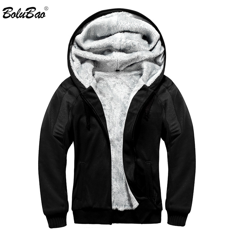 BOLUBAO Winter Men Hoodie Sweatshirt Men's Fashion Casual Solid Color Hooded Sweatshirt Brand Clothing Fleece Warm Hoodies Male