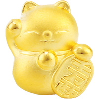 Настоящая 999 24k подвеска из желтого золота 3D женский прекрасный кот приносящий удачу только кулон 10*12,5 мм