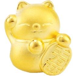 Reale 999 24k Ciondolo In Oro Giallo 3D Donne Bella del Gatto di Fortuna Solo Del Pendente 10*12.5 millimetri