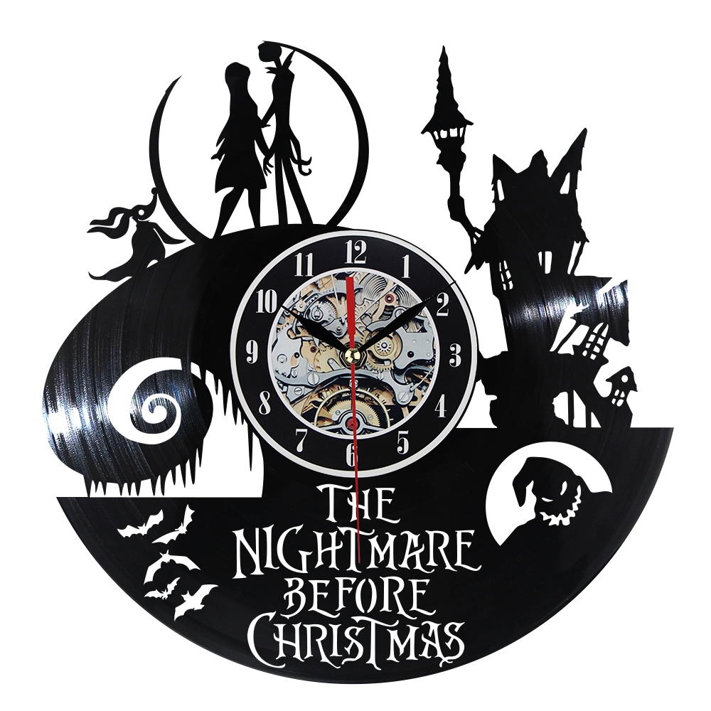 Vinyl Record Wall Clock The Nightmare Before Christmas Theme CD Record Clock 3D Hanging LED Wall Clock Creative Antique Clock