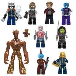9 pçs marvel guardiões da galáxia estrela-senhor gamora nebulosa foguete raccoon yondu bloco de construção brickmini brinquedo boneca para crianças