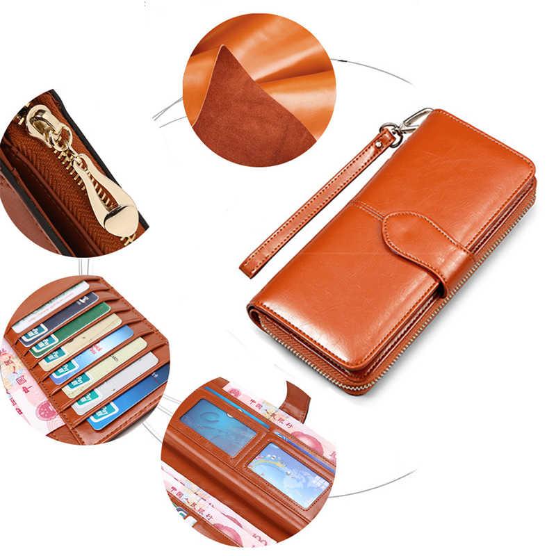Portfel skórzany damski na kartę kredytową kobieta moneta torebka moda marka luksusowy długi zamek błyskawiczny Lady wytrzymała torebka kobiety portfele
