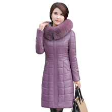 купить 2019 Winter Leather Jacket Women Sheepskin Coat Hooded Plus Size 8XL Long Parkas Female Thick Warm Long Leather Parka Fur Collar по цене 4995.56 рублей