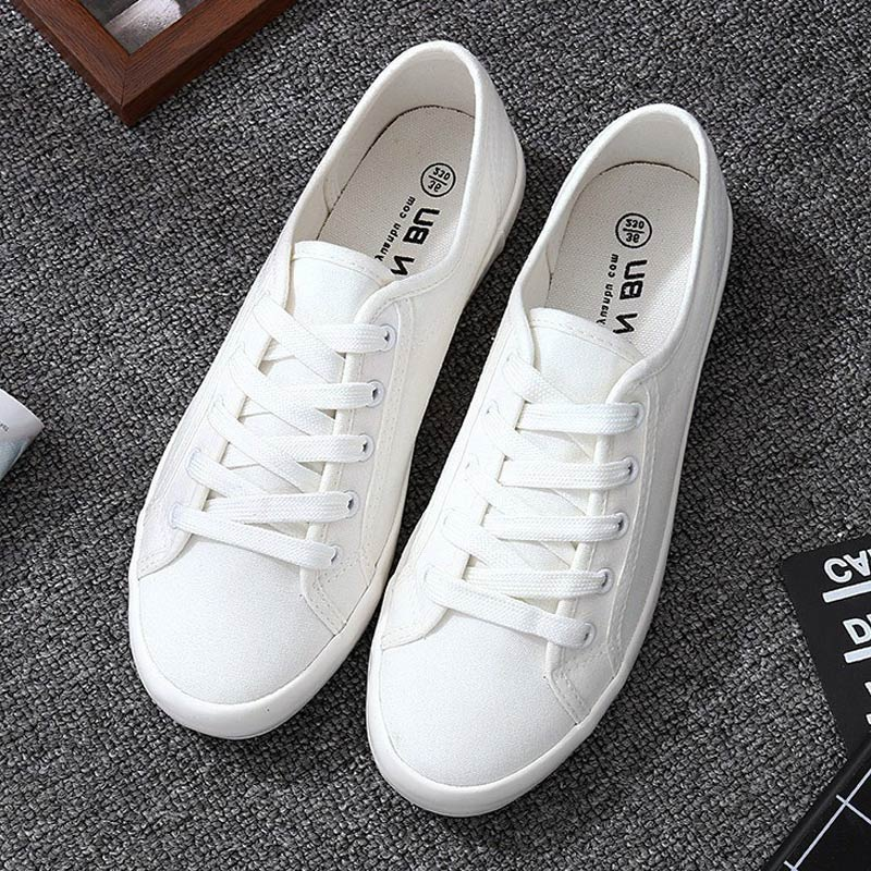 Summer Women Shoes 2019 New Fshion Solid White Blue Canvas Shoes Woman Simple Casual Lace-up Platform Sneakers Women Shoes