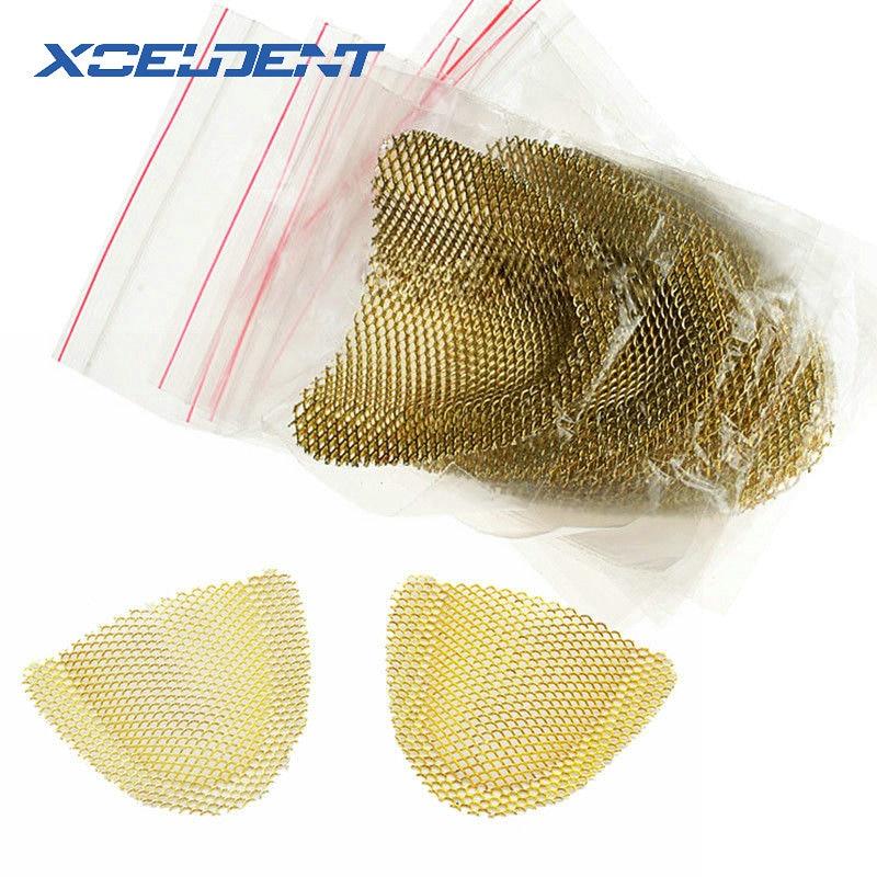 20Pcs/Pack Upper Lower Dental Lab Gold Denture Materials Golden Metal Palatal Reinforcement Mesh For Acrylic Partial Denture
