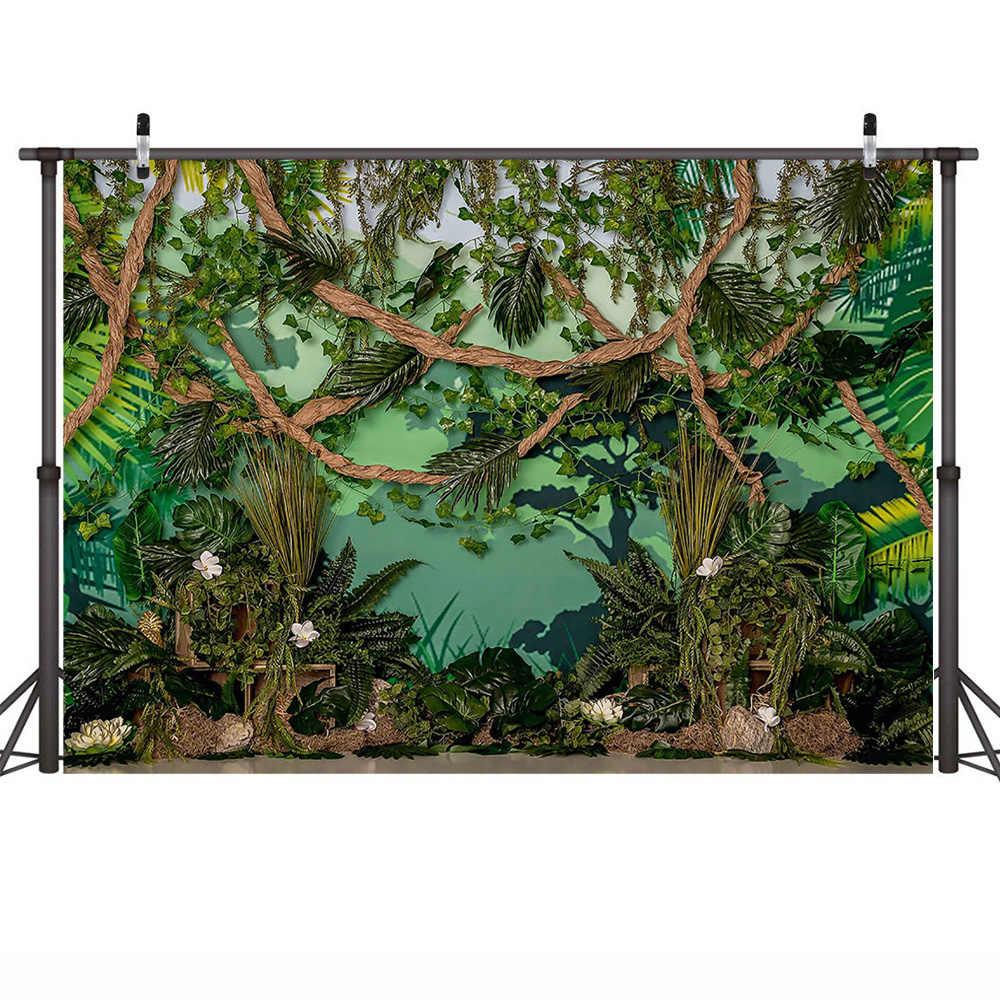 Impreza w stylu Safari dzikie zdjęcie urodzinowe tło sesja zdjęciowa zielony las dżungli dziecko dzieci portret tło fotografia lasu