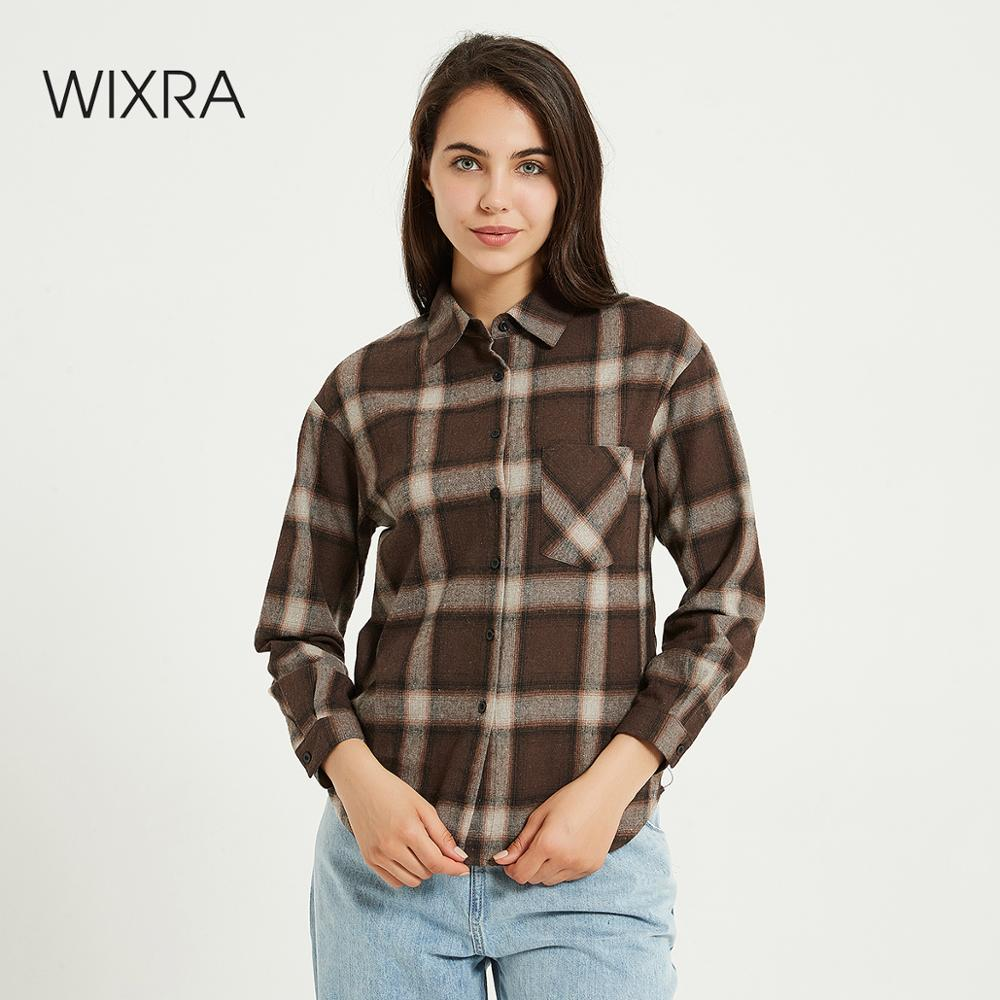 Wixra Women Blouse Tops Turn-down Collar Loose Long Sleeve Plaid Casual Shirts Lady Casual Style Tops Clothes Blusas