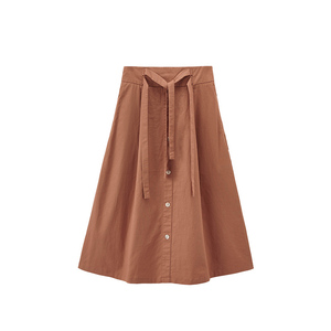 Image 5 - INMAN Spring Autumn Retro Young Girl Literary 100%Cotton Solid Lacing A line Women Medium Skirt