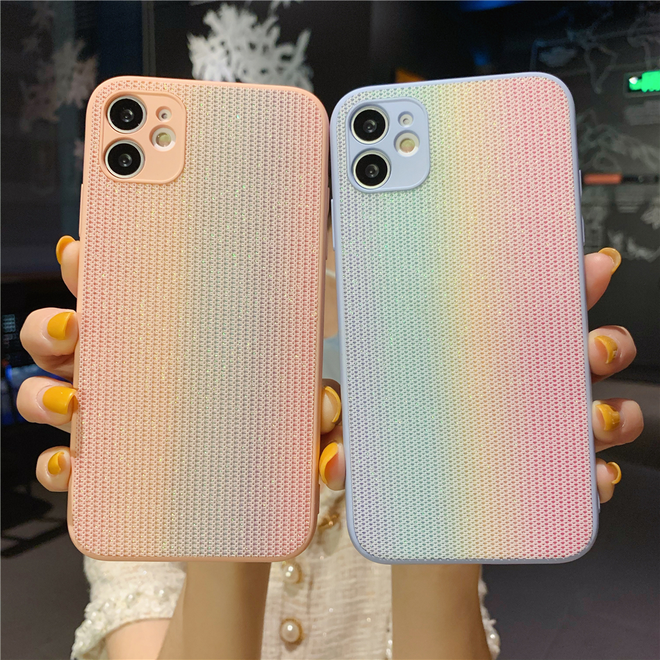 Gradient Glitter Shining Cloth Lace Candy Phone Case for iPhone 11 12 Mini Pro Xs Max XR X 7 8 Plus SE 2020 Rainbow Back Cover