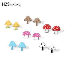 2019 novos cogumelos acrílico brinco cogumelo resina brincos parafuso prisioneiro da orelha cor engraçada pontos cogumelo epóxi brincos presentes menina