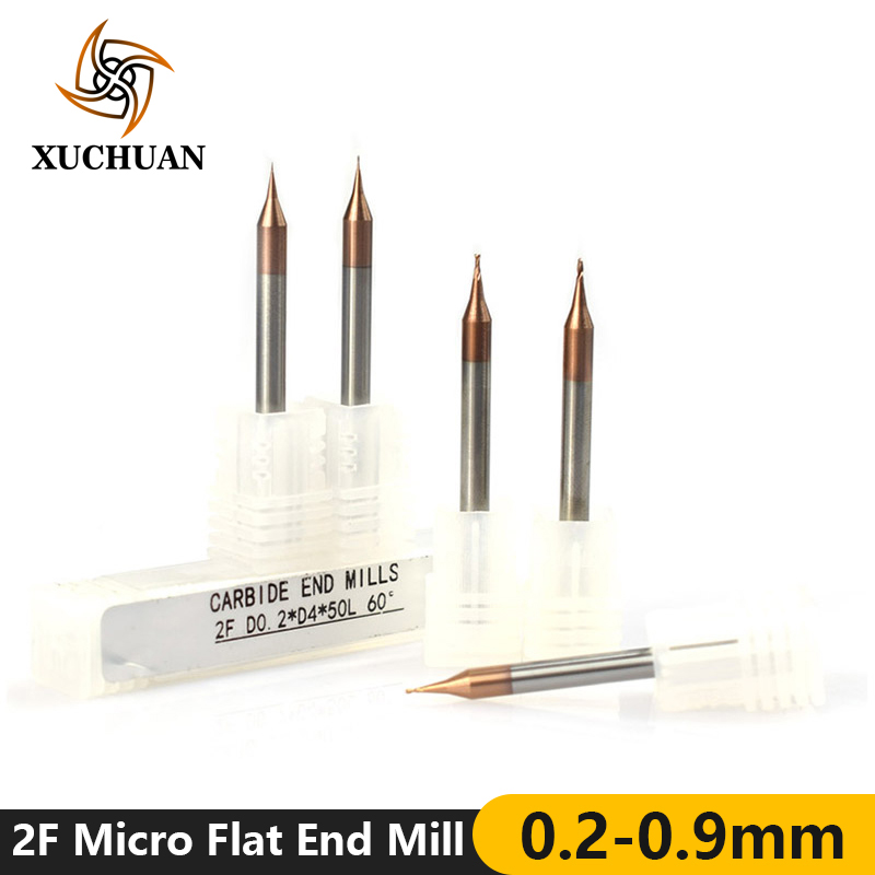 1pc 0.2-0.9mm Micro Flat End Mill 2 Flutes Tungsten Carbide Milling Cutter 4mm Shank TiCN Coated Mini CNC Router Bit
