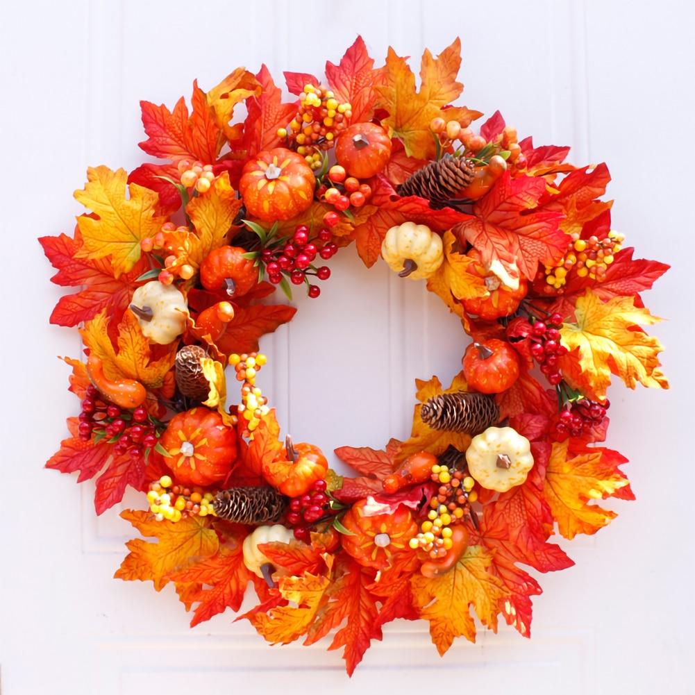 Осенний венок с тыквой, ягодами, кленовыми листьями, искусственный осенний ягодный венок, Осенний венок для сбора урожая, Осенний венок для